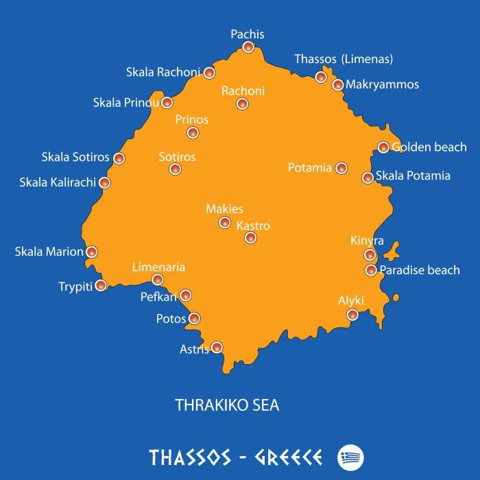 Karte Thasos